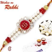 White & Red Swastik Rakhi - RJ17215