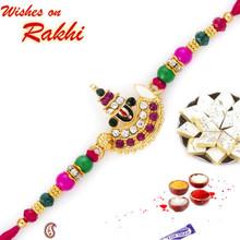 AD & Multicolor Stone Studded Lord Motif Rakhi - RJ17217