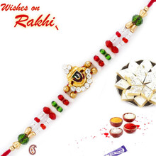 Lord Motif Rakhi with Multicolor Beads - RJ17218