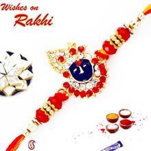 Gold Plated Bihariji Rakhi with Beads - RJ17222