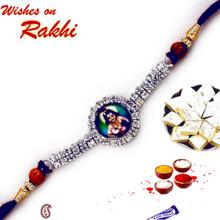 Lord Krishna stone stud Rakhi - RJ17223