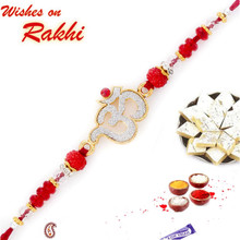 Sparkling OM Rakhi with Red Beads - RJ17224