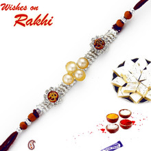 OM Bracelet Rakhi with Pearl and Sandalwood Beads  - RJ17235