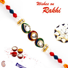 Kundan & Crystal Beads Studded Charming Rakhi - RJ17302