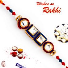 Circular & Square Crystal Stone Beads Rakhi - RJ17303