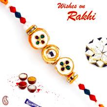 Circular Meenakari Beads & Crystal Stone Rakhi - RJ17305