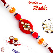 Oval Red Base AD Studded Rakhi - RJ17307