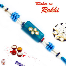 Rectangular Blue Base Kundan Studded Rakhi - RJ17308