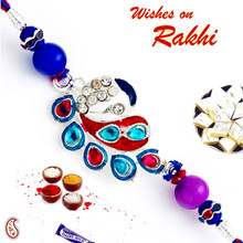 Blue & Red Crystal Stone Studded Designer Rakhi - RJ17310