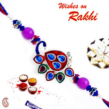 Red & Blue Crystal Stone Studded Peacock Design Rakhi - RJ17311
