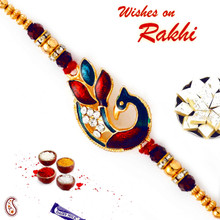 Golden Beads & Crystal Stone Studded Rakhi - RJ17312