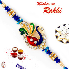 Blue Beads & AD Studded Peacock Design Rakhi - RJ17313