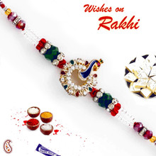 Multicolor Crystal Stone & AD Studded Peacock Design Rakhi - RJ17314