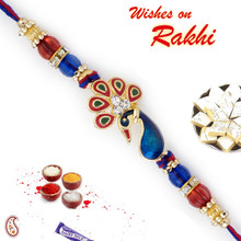 Blue & Red Crystal Peacock Shape Jewelled Rakhi - RJ17315