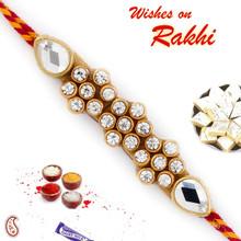 Tri Floral Style Jewelled Rakhi - RJ17316
