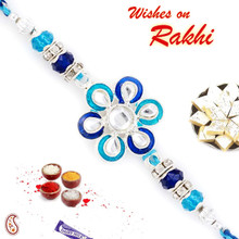 Amazing Aqua & Royal Blue Floral Shape Rakhi - RJ17320