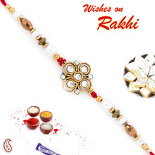 White & Golden Beads Floral Pattern Rakhi - RJ17322