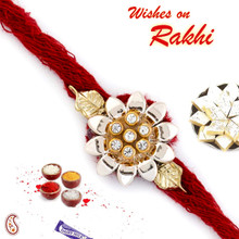 Beautiful AD Studded Floral & Leaf Rakhi - RJ17324