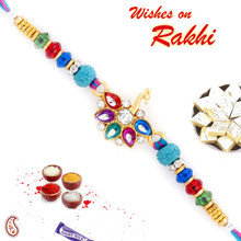 Colorful Stone Studded Peacock Style Rakhi - RJ17328