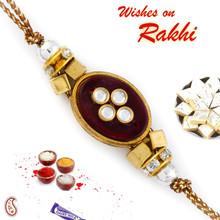 Crystal Beads Studded Beautiful Rakhi - RJ17329