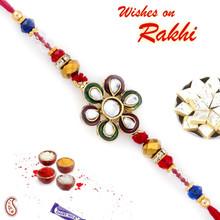 Beautiful Kundan Studded Floral Shape Rakhi - RJ17331