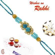 Crsytal Blue Beads Studded Pretty Rakhi - RJ17334