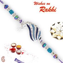 Peacock Shape Multicolor Cyrstal Beads Rakhi - RJ17336
