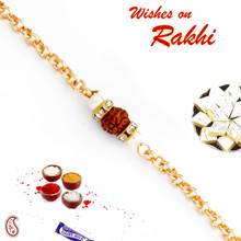 Single Rudraksh Studded Chain Style Rakhi - RD17401