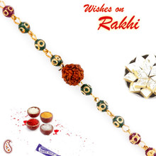 Multicolor Beads Golden Chain Rakhi with Solo Rudraksh - RD17402