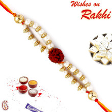Single Rudraksh Pearl String Rakhi - RD17403