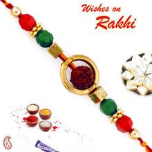 Rudraksh with Circular Cover Rakhi - RD17404