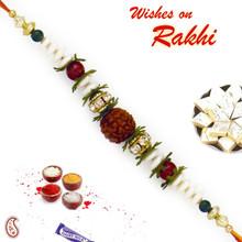 CZ studded Pearl & Rudraksh Rakhi - RD17405