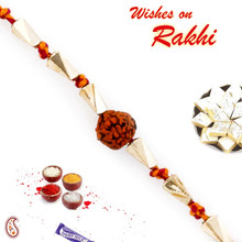 Golden Twisted Beads Rudraksh Rakhi - RD17406
