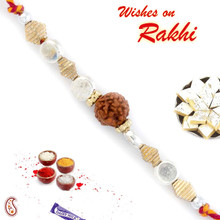 Silver & Gold Beads Rakhi with Solo Rudraksh - RD17407