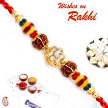Multicolor Beads & AD Studded Rudraksh Rakhi - RD17408