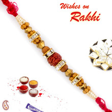 Brown & Golden Beads Rakhi with Rudraksh  - RD17409