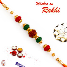 Pearl & Beads Studded Beautiful Rudraksh Rakhi - RD17410