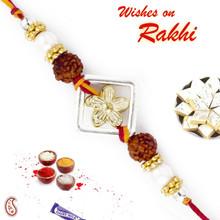 Golden Floral Style Rakhi with Dual Rudraksh - RD17411