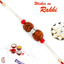 Charming Dual Rudraksh Rakhi with Silver String - RD17412