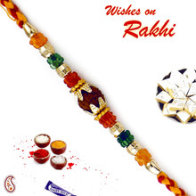 Multicolor Crystal Beads Rudraksh Rakhi - RD17414