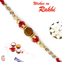 Red Crystal Beads Rudraksh Rakhi - RD17417