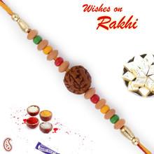 Multicolor Beads Rudraksh Rakhi - RD17419