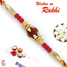 Red Beads Rudraksh Rakhi - RD17420