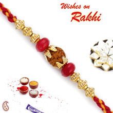 Red & Golden Beads Rudraksh Rakhi - RD17421