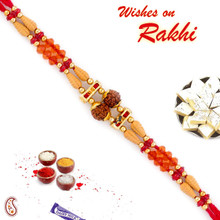 Orange & Red Crystal Beads Studded Twin Rudraksh Rakhi - RD17428