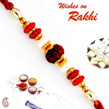 Red & Golden Beads Studded Rudraksh Rakhi - RD17430