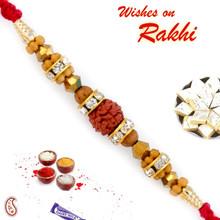 Brown & Golden Beads Studded Rudraksh Rakhi - RD17431