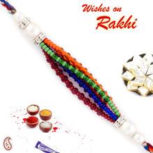 White Pearl & Multicolor Beads Studded Rakhi - PRL17501