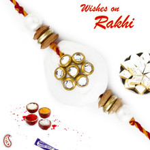 White Pearl & AD studded Rakhi with Colorful  Beads - PRL17504