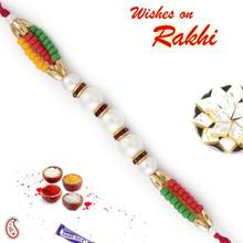 Multicolor Beads & White Pearl Rakhi - PRL17505